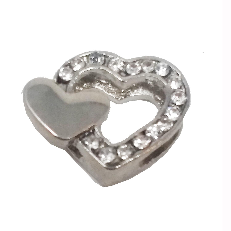 Double Heart Slider Dog Collar Charm - Clear