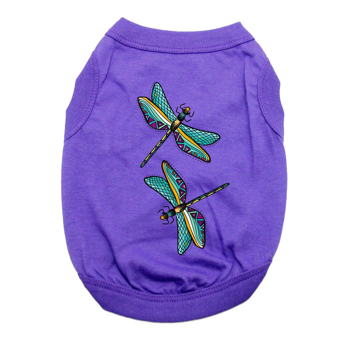 Dragonflies Dog Shirt - Purple