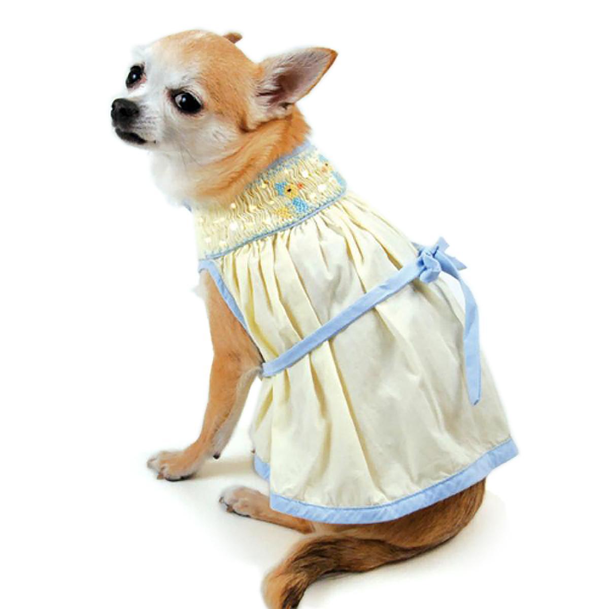 Duckie Hand-Smocked Bishop Dog Dress By Oscar Newman