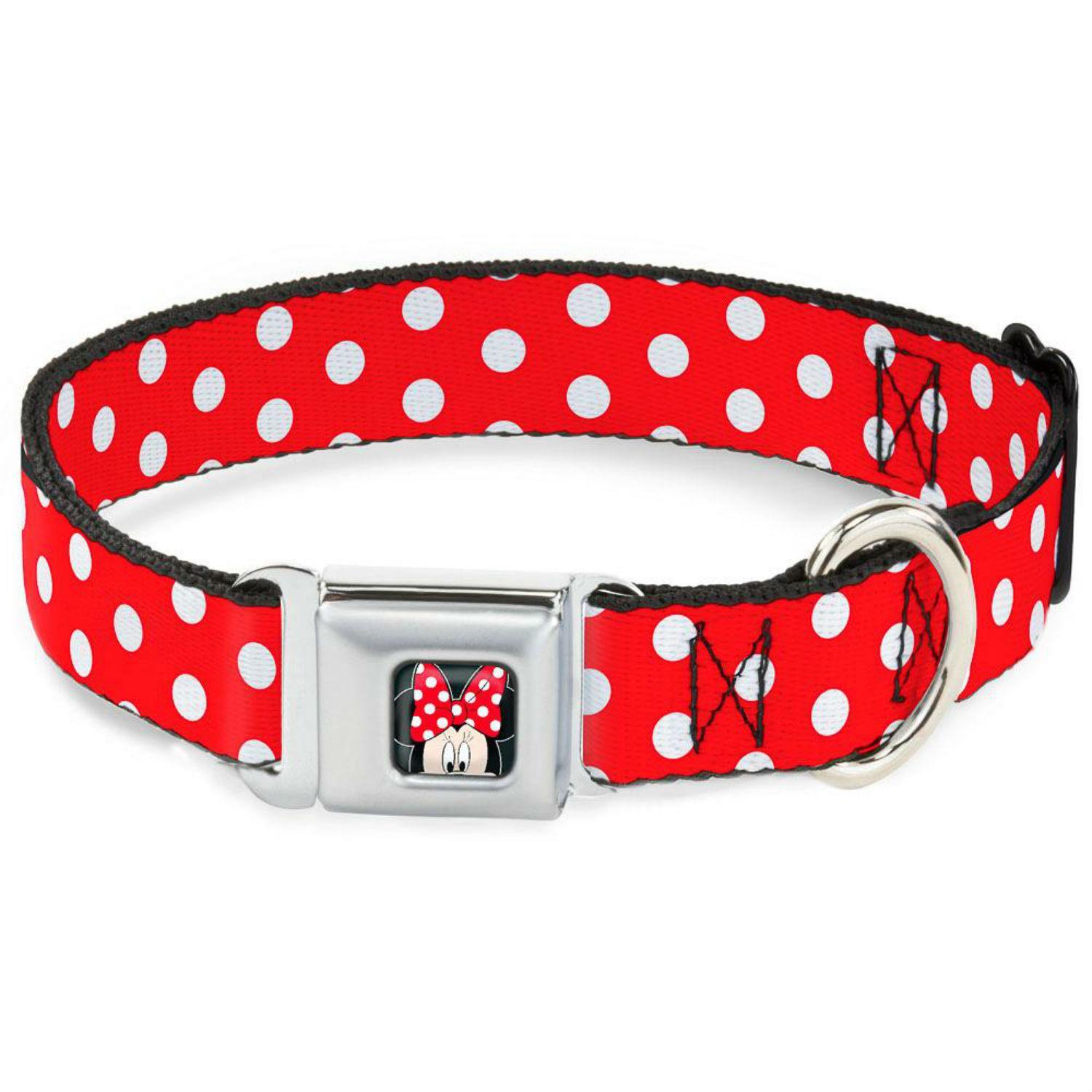 Minnie Mouse Seatbelt Buckle Dog Collar by Buckle-Down - Red/White