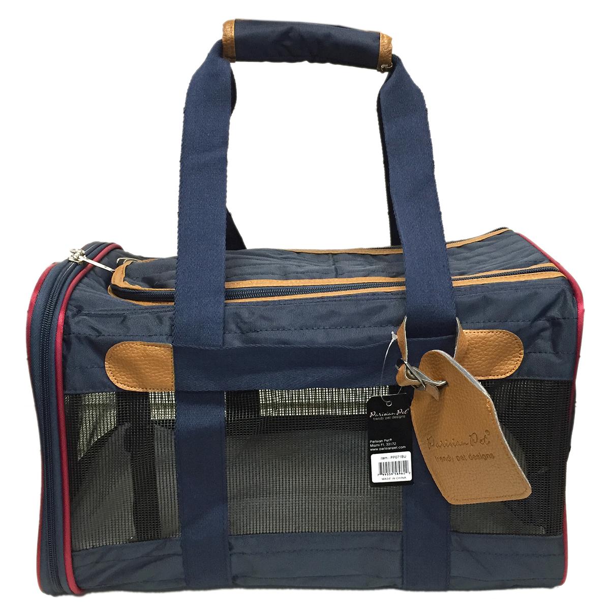 Navy And Tan Dog Duffle Bag Carrier Parisian Pet