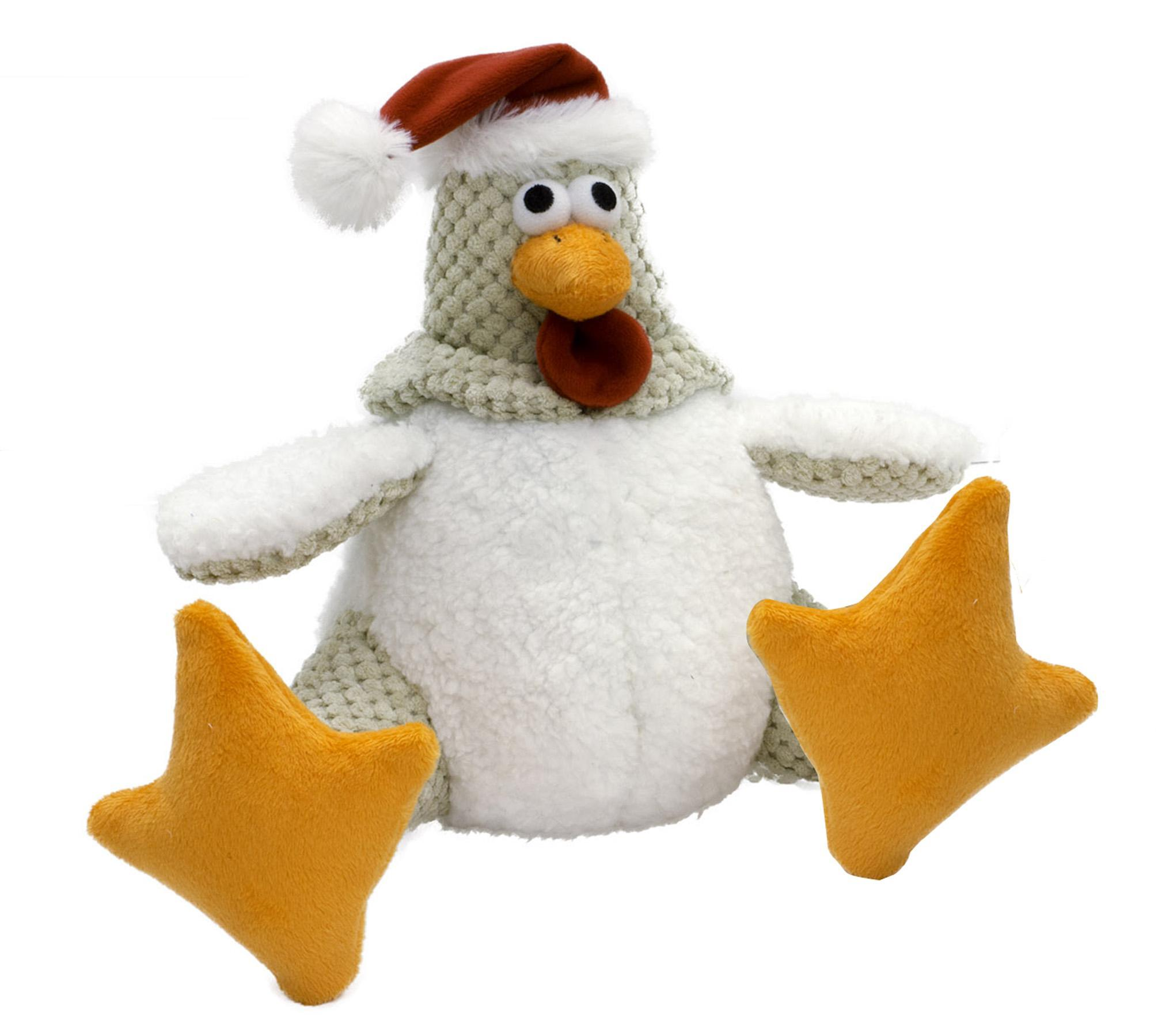 goDog Holiday Santa Rooster Dog Toy - White