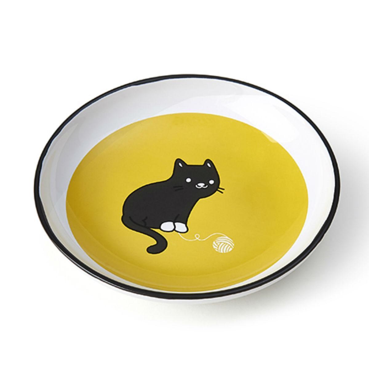 Tangled Kitty Cat Saucer - Yellow/White