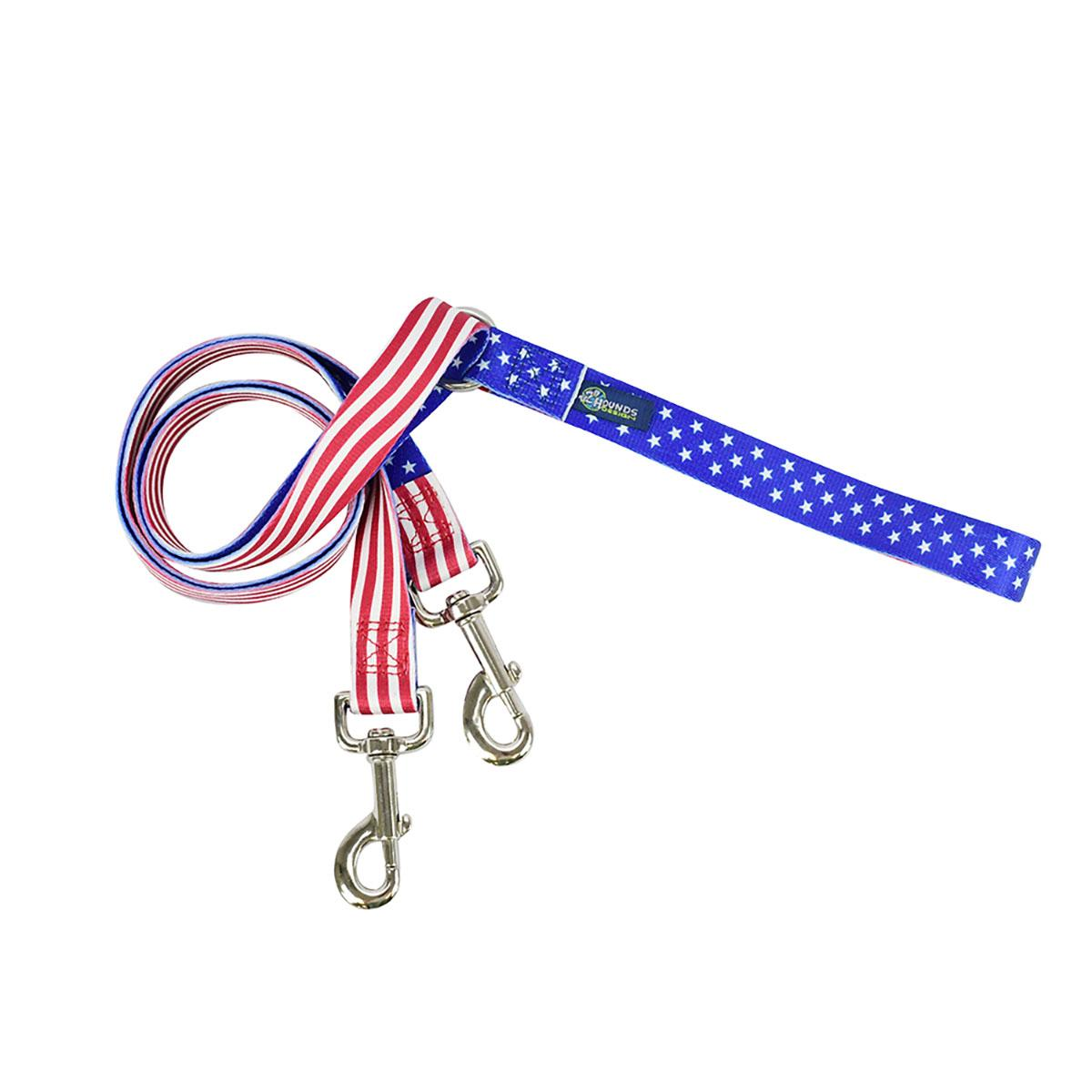 EarthStyle Double Connection Dog Leash - Star Spangled