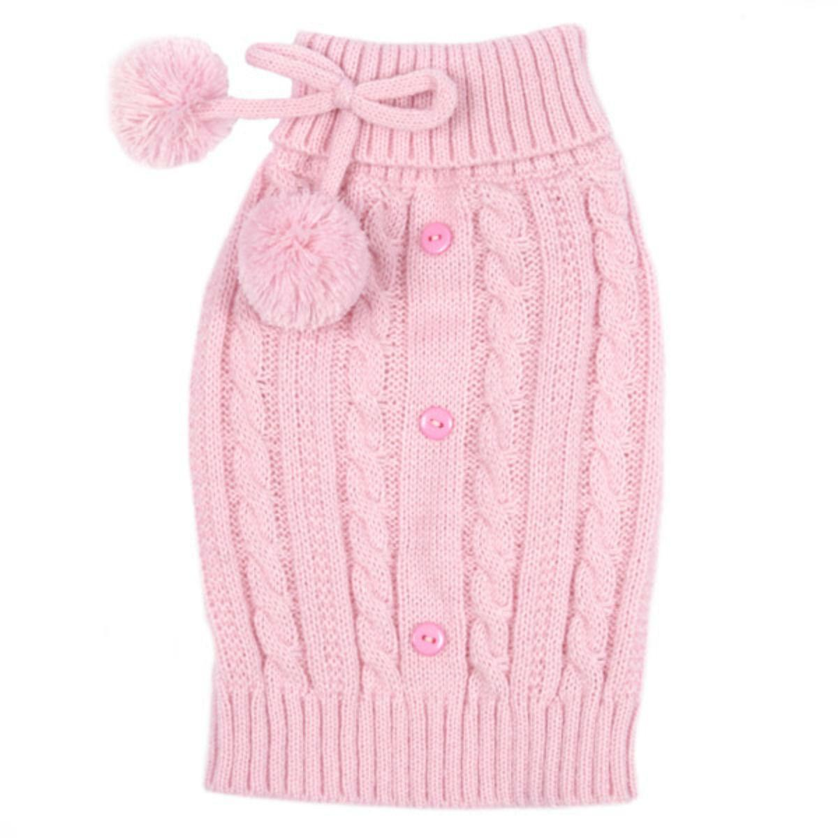 East Side Collection Pink Cable Knit Dog Sweater