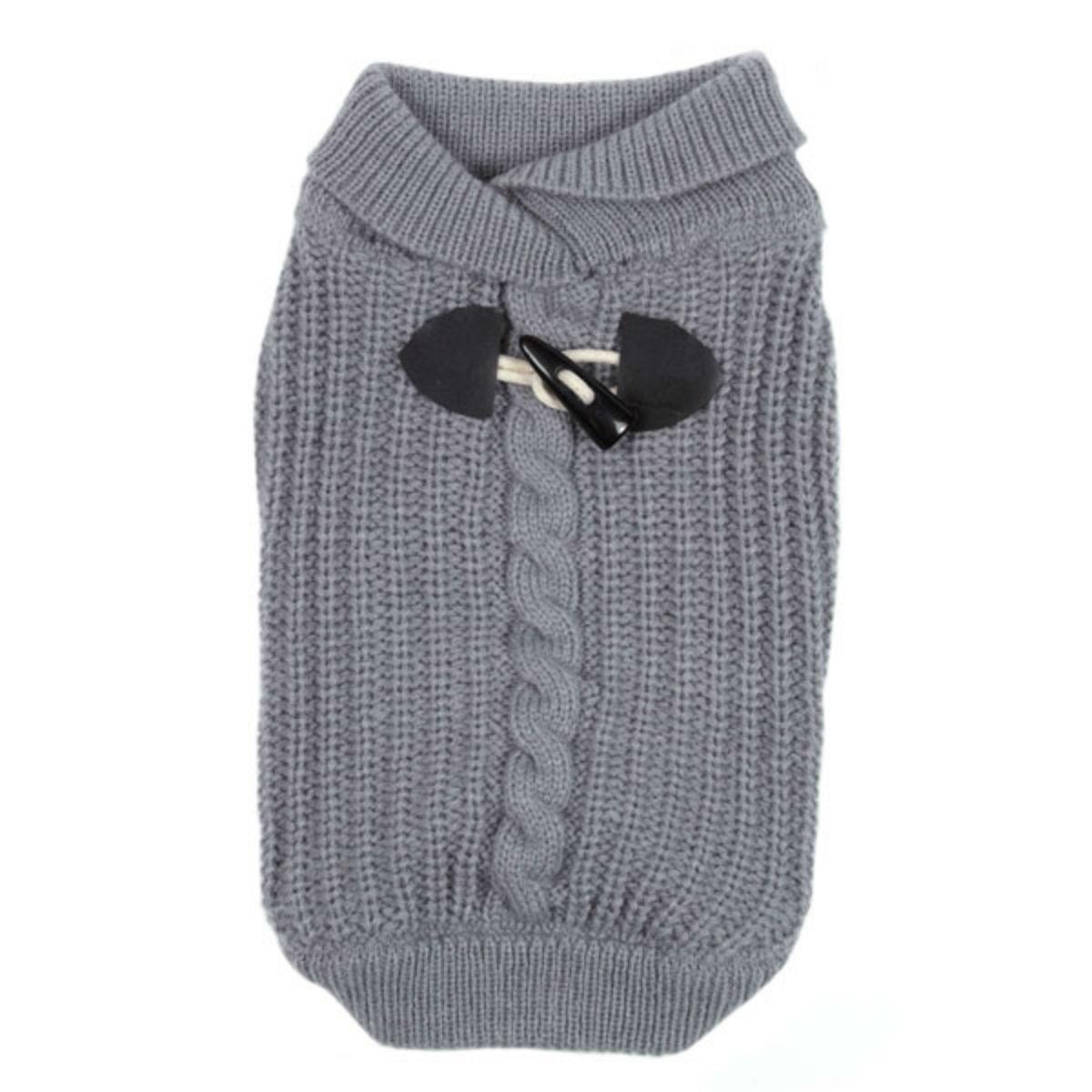Shawl Collar Dog Sweater - Gray