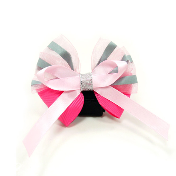 EasyBOW Cutie Dog Collar Attachment by Dogo - Hot Pink with Stripes