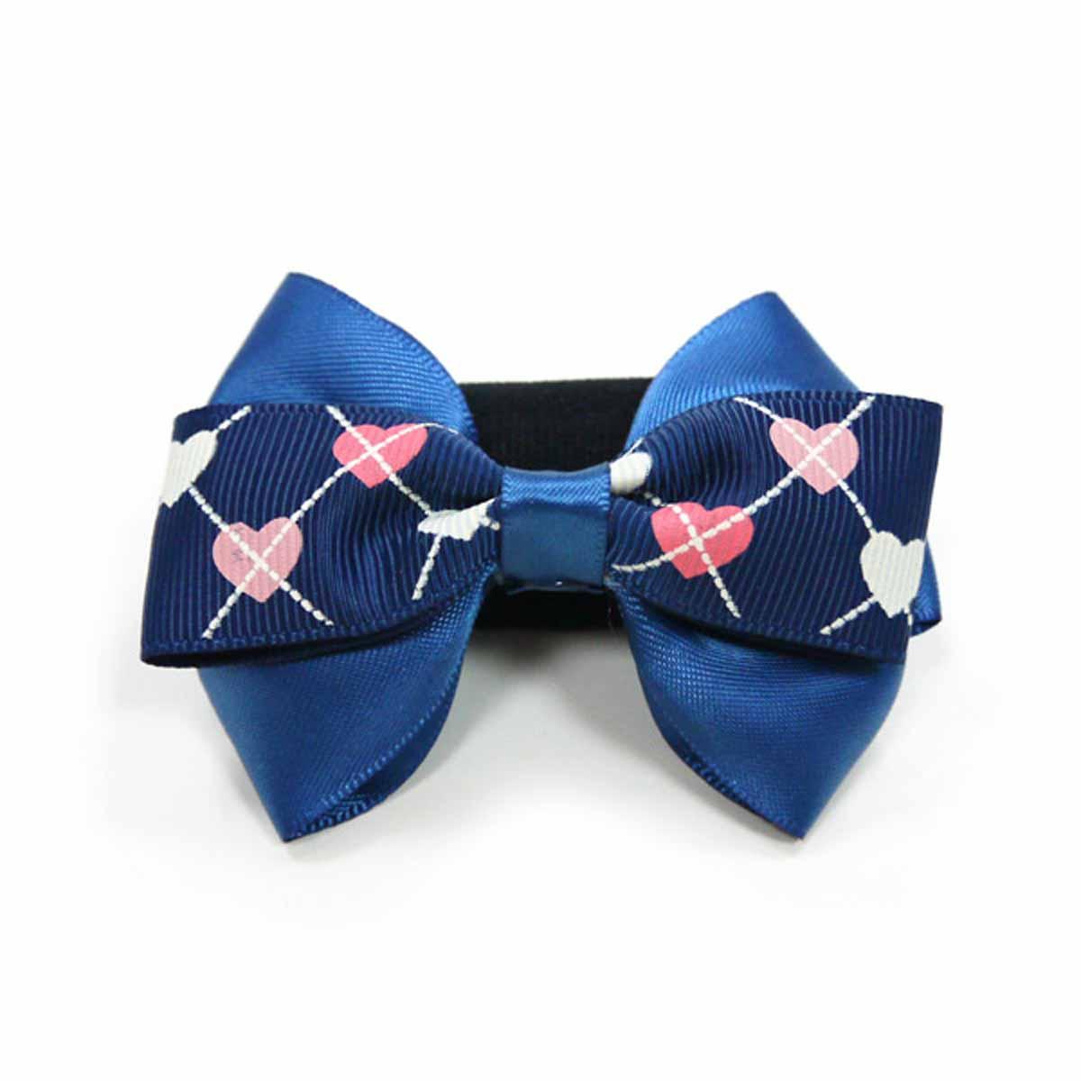 EasyBOW Gentleman Argyle Heart Dog Collar Attachment by Dogo - Blue