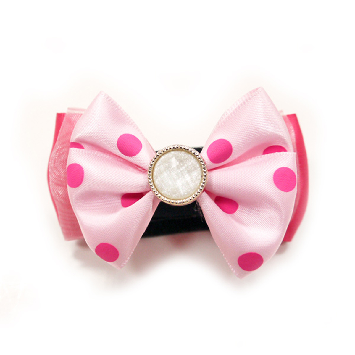 EasyBOW Polka Dot Delight Dog Collar Attachment by Dogo - Pink