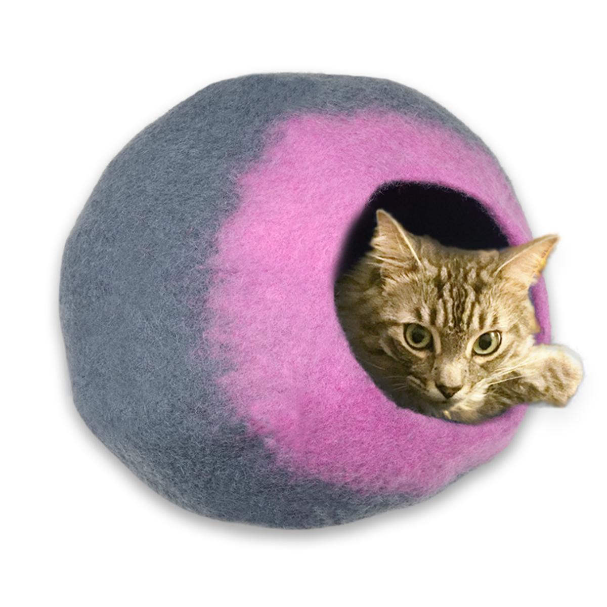 Walking Palm Large Cat Cave - Grey and Pink
