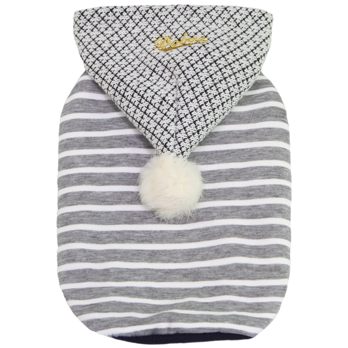Dobaz Striped Pompom Dog Hoodie - Gray