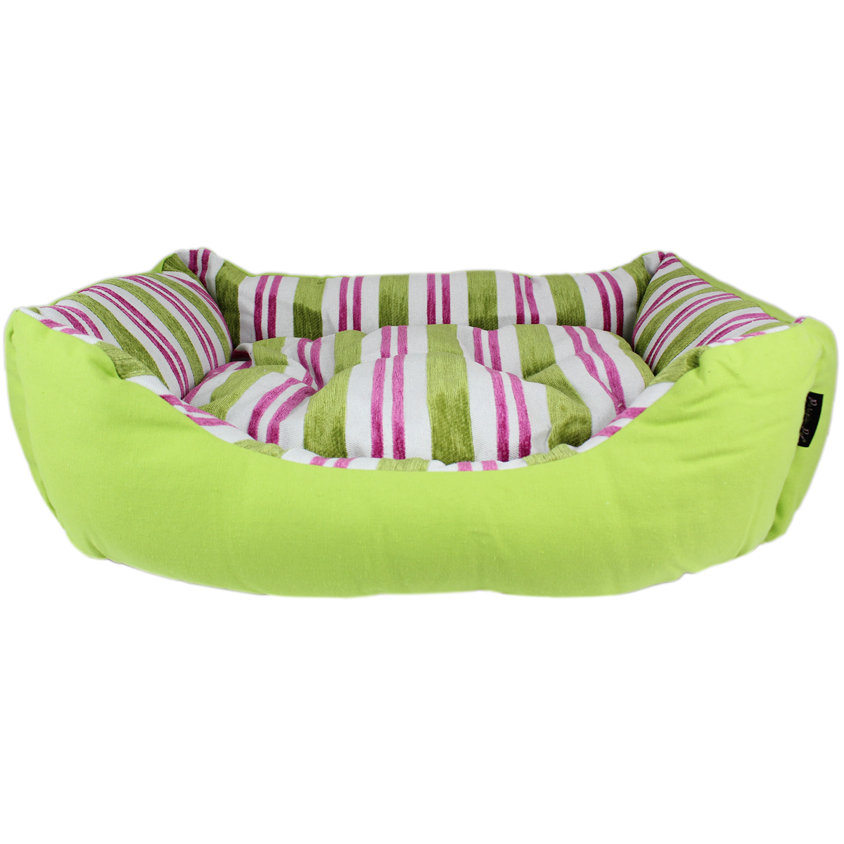 Canvas Striped Dog Bed - Green