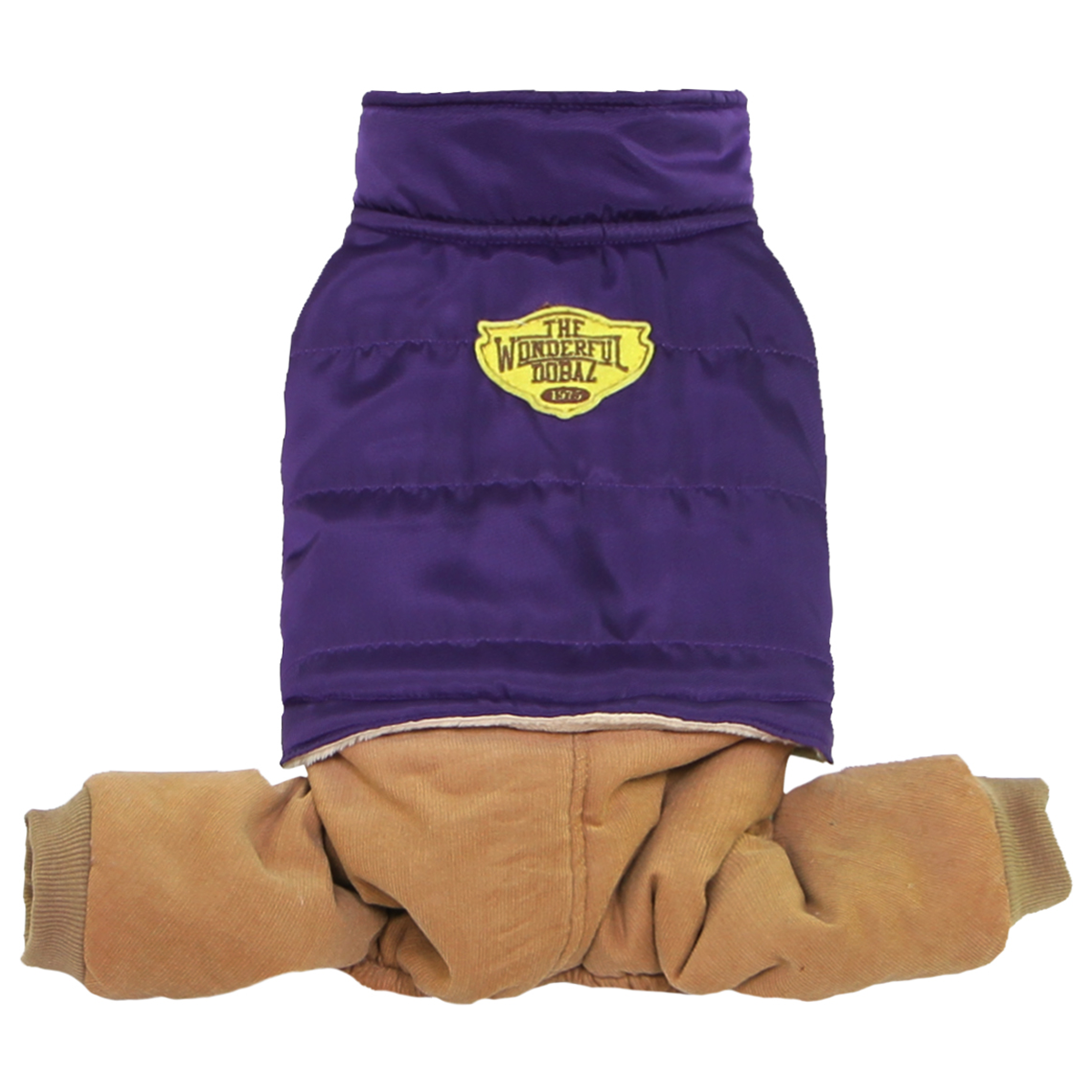 Puffer Jacket with Corduroy Pants Dog Jumpsuit - Purple