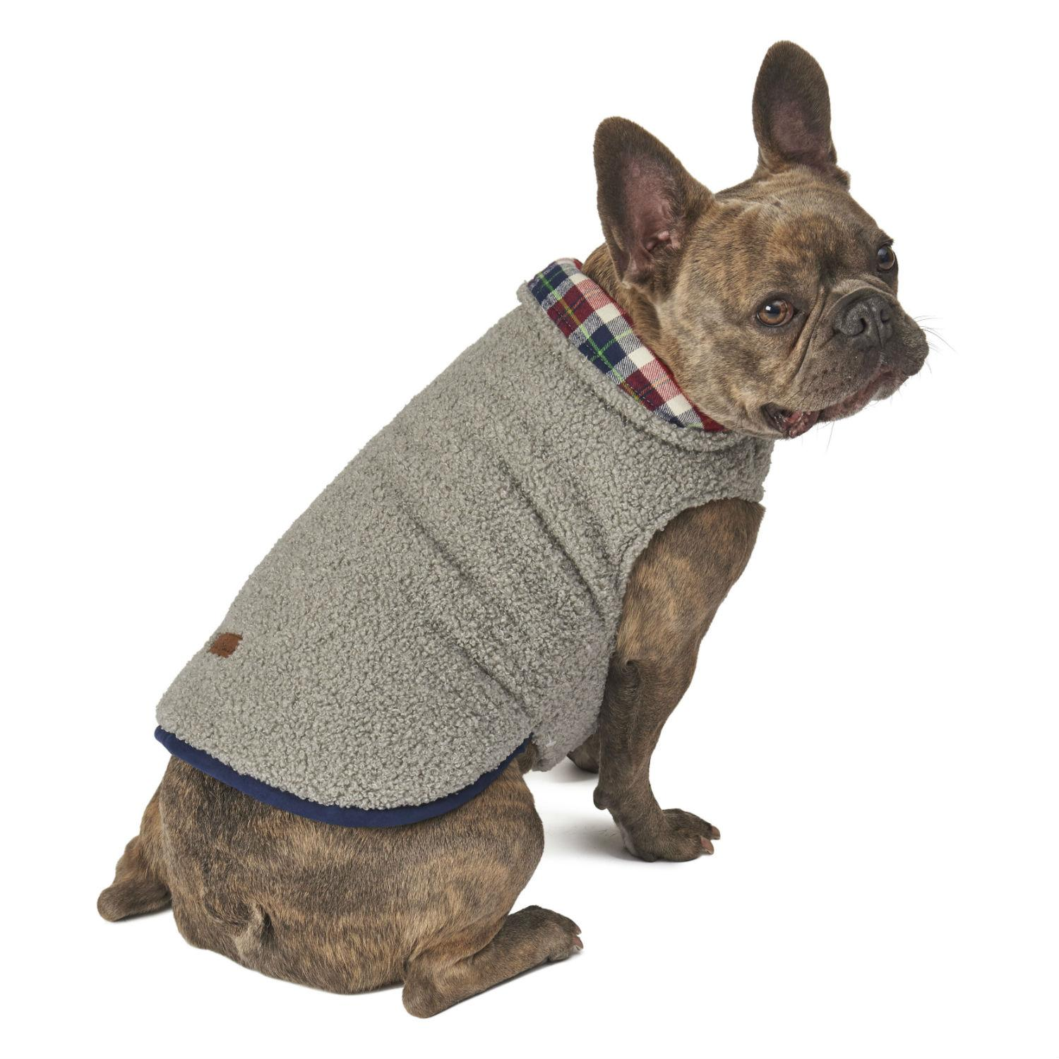 Eddie Bauer Cordova Dog Coat - Gray/Navy Plaid