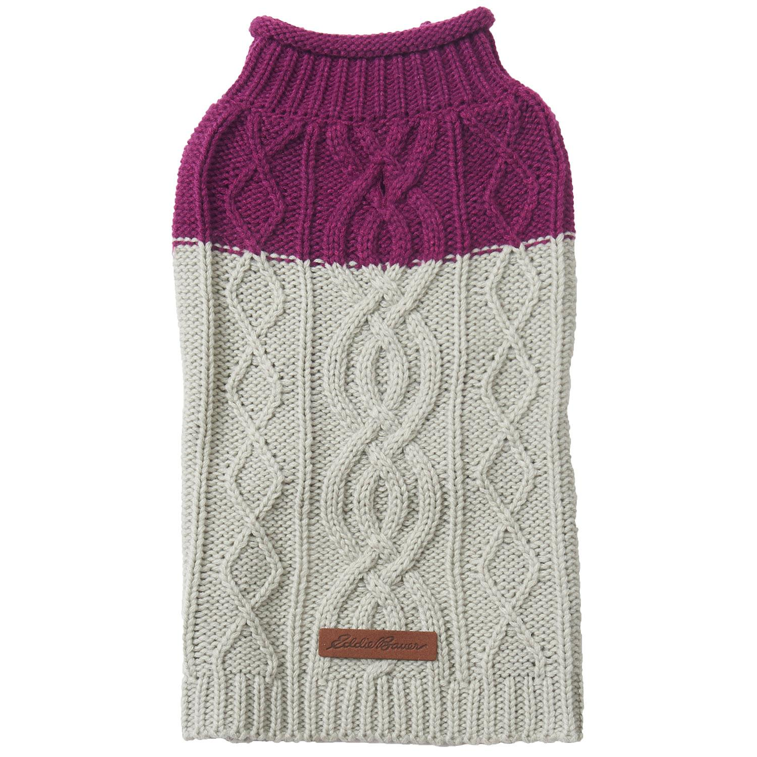 Eddie Bauer Two Tone Cable Knit Dog Sweater Baxterboo