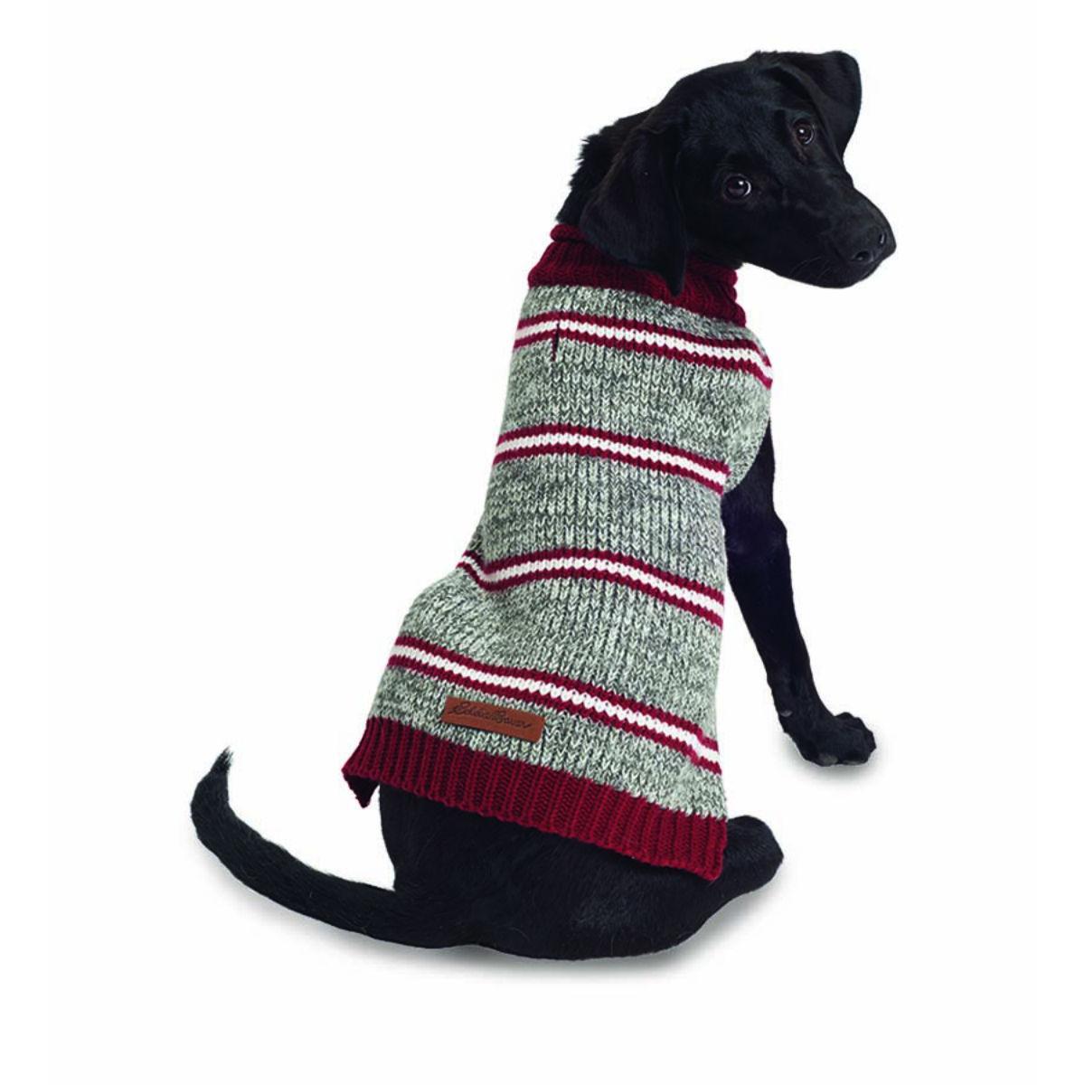 Eddie Bauer Marled Striped Dog Sweater - Gray/Brick Red