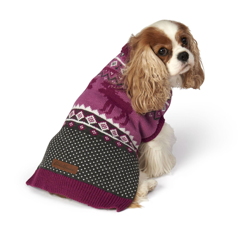 Eddie Bauer Moose Fair Isle Dog Sweater - Dusty Purple and Gray
