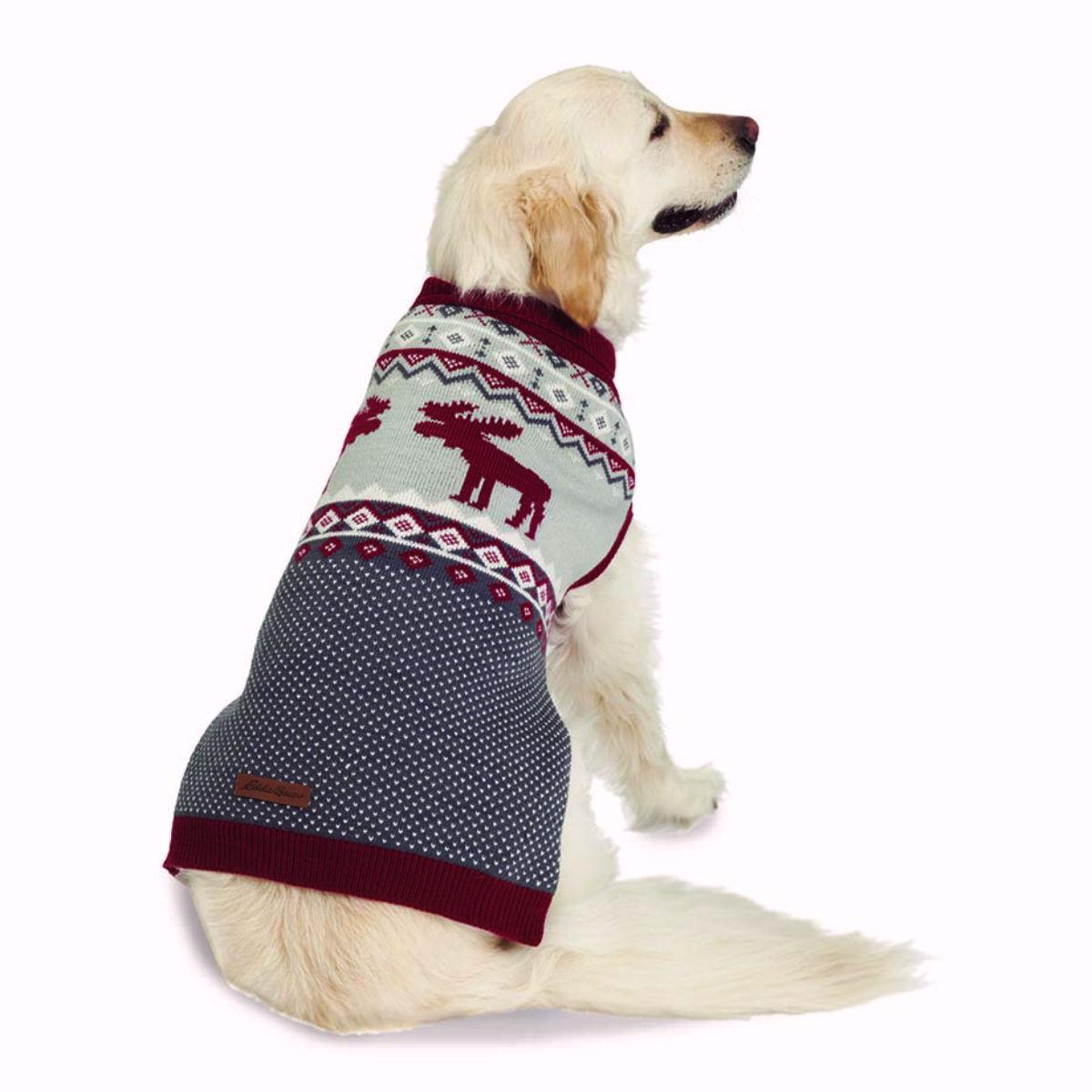 Eddie Bauer Moose Fair Isle Dog Sweater - Red and Gray