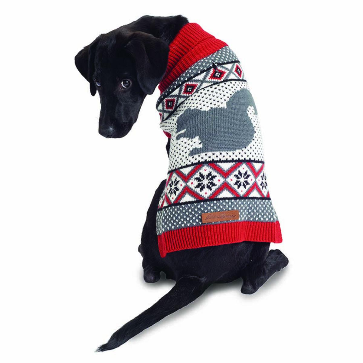 Eddie Bauer Woodland Fair Isle Dog Sweater - Red and Gray