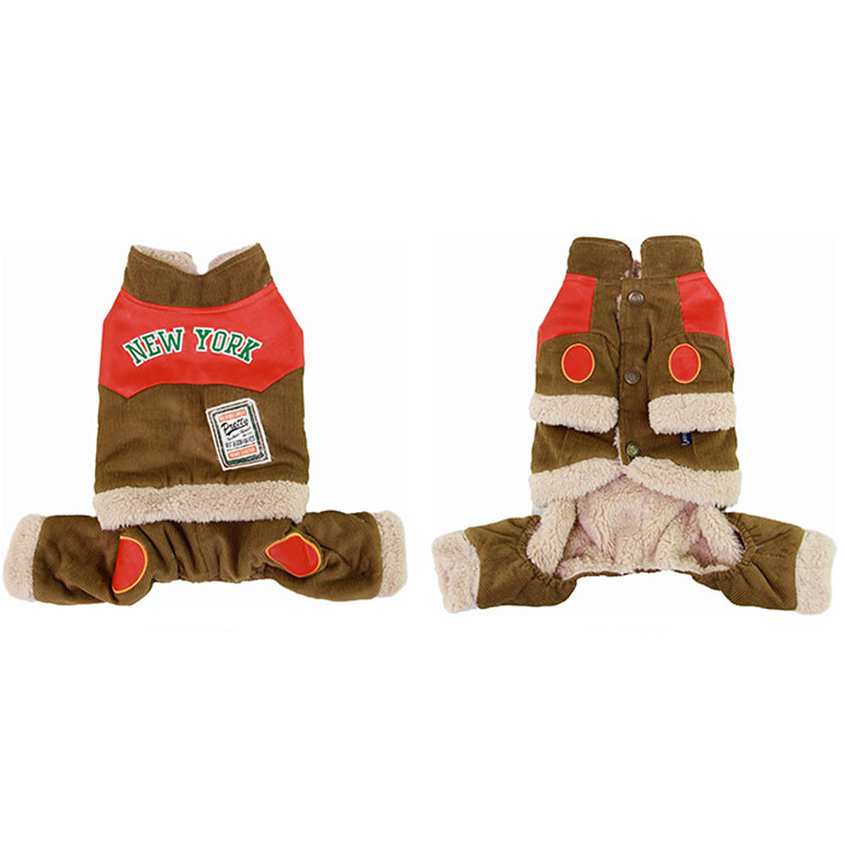 Corduroy Dog Jumpsuit - Camel