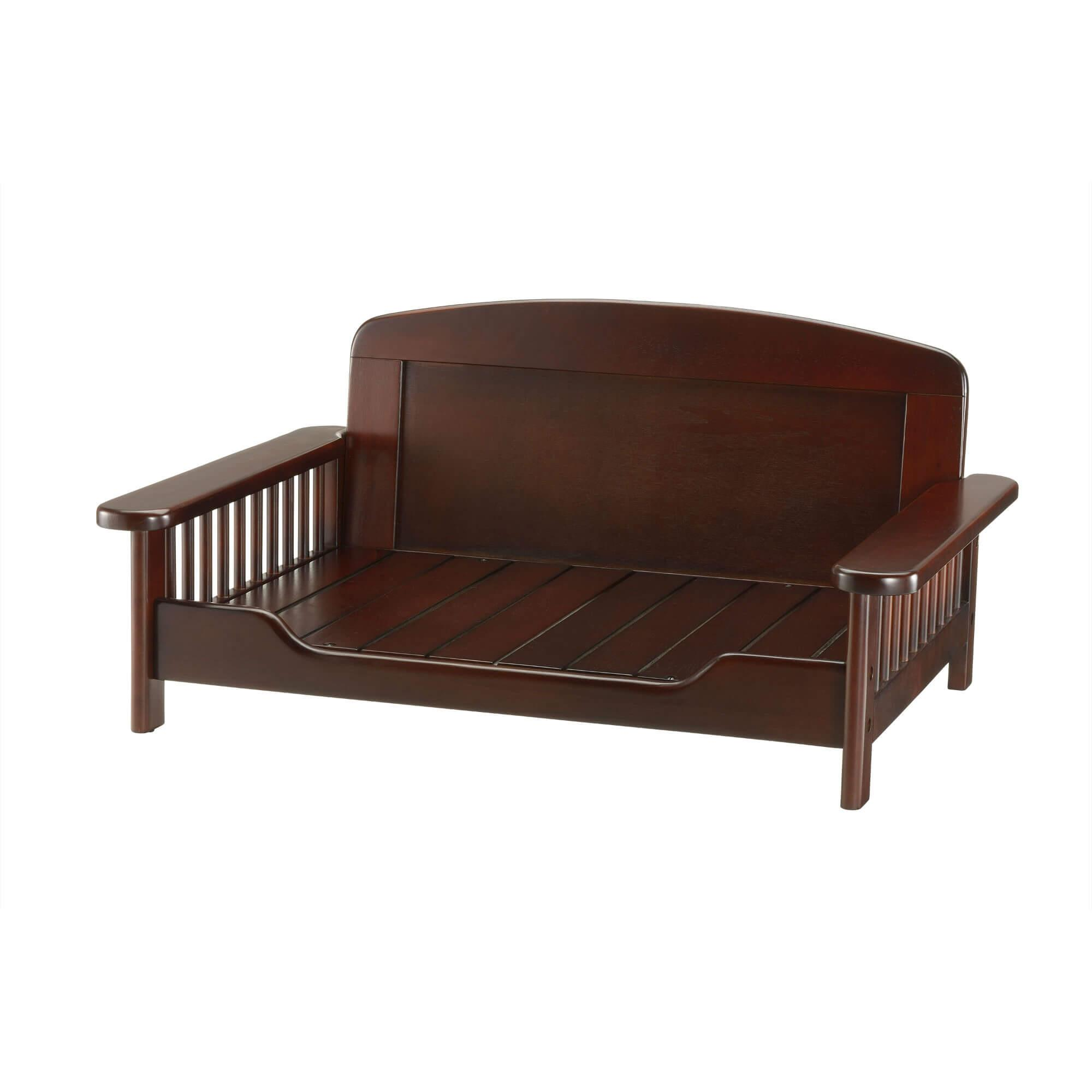 Elegant Wooden Dog Bed - Dark Brown