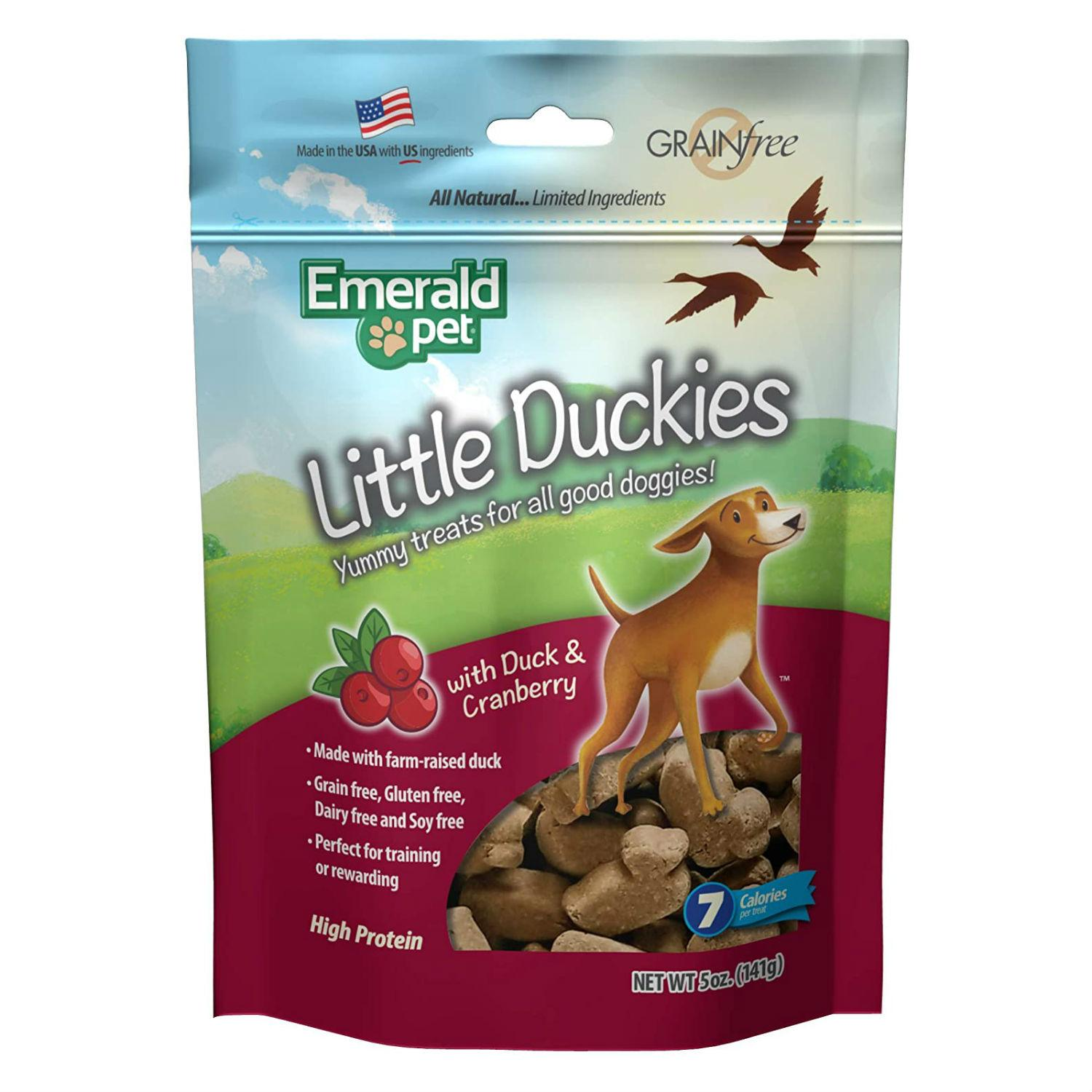 Emerald Pet Grain Free Little Duckies Dog Treat - Duck and Cranberry
