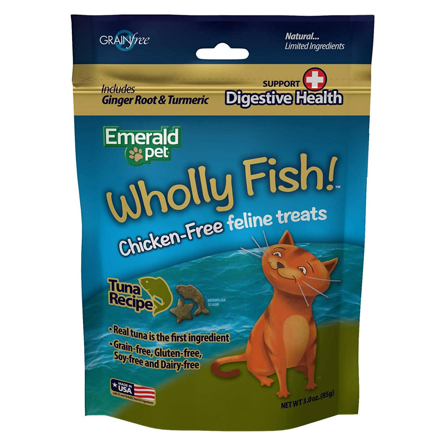 Emerald Pet Wholly Fish! Digestive Health Cat Treats - Tuna Recipe