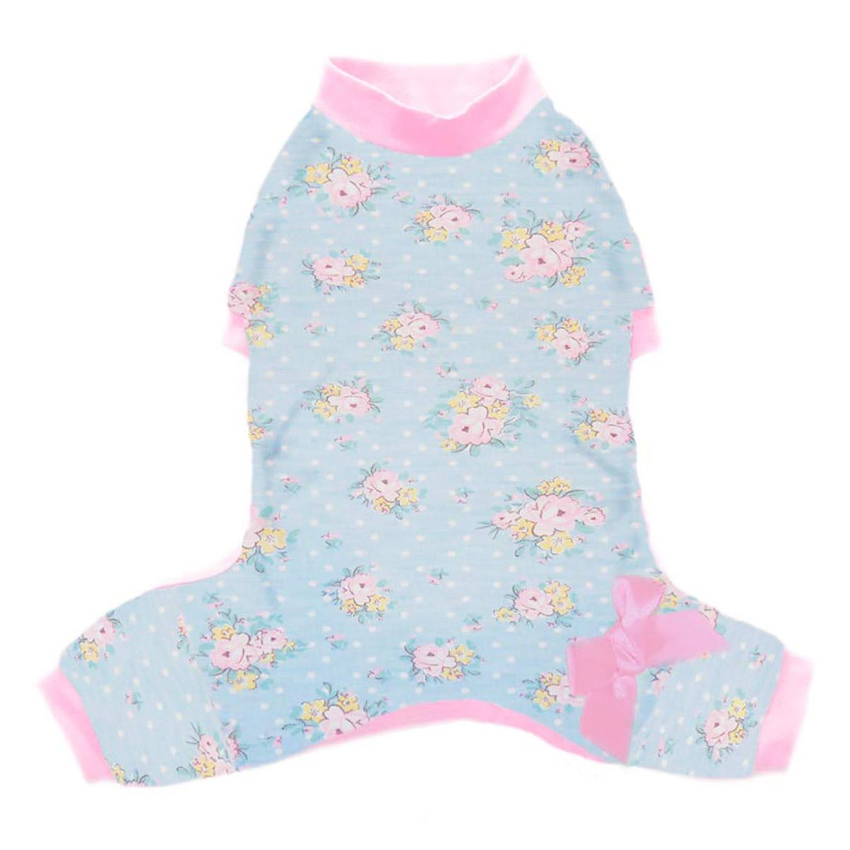 Emma Dog Pajamas - Blue Floral with Pink Trim