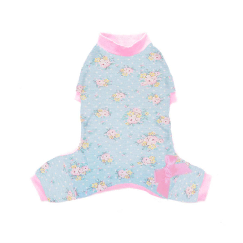 Emma Dog Pajamas - Blue Floral with Pink Trim