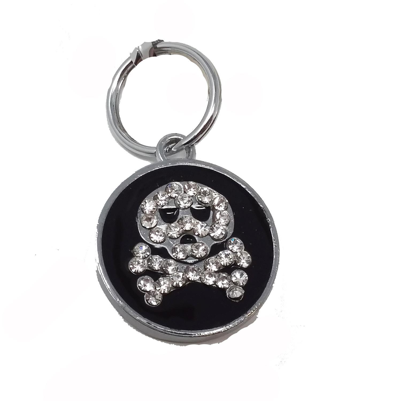 Enamel Circle Skull D-Ring Pet Collar Charm by foufou Dog - Black