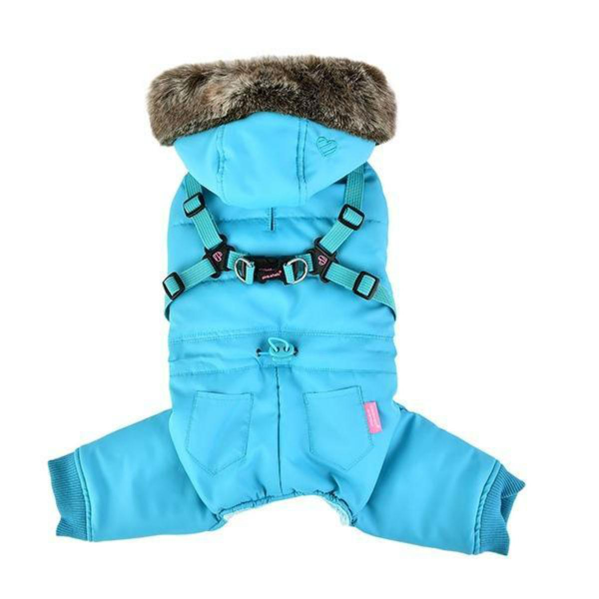 Evelyn Hooded Dog Jumpsuit by Pinkaholic - Aqua