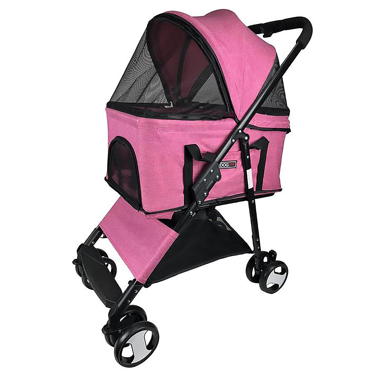 Executive Pet Stroller with Removable Cradle by Dogline - Pink