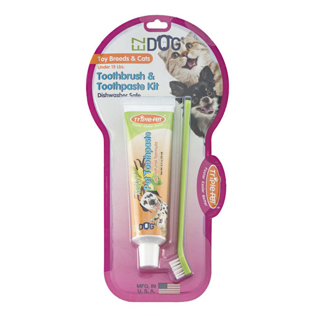EZ Dog 3-Sided Toothbrush & Natural Toothpaste Kit for Toy Dog Breeds and Cats - Vanilla Flavor