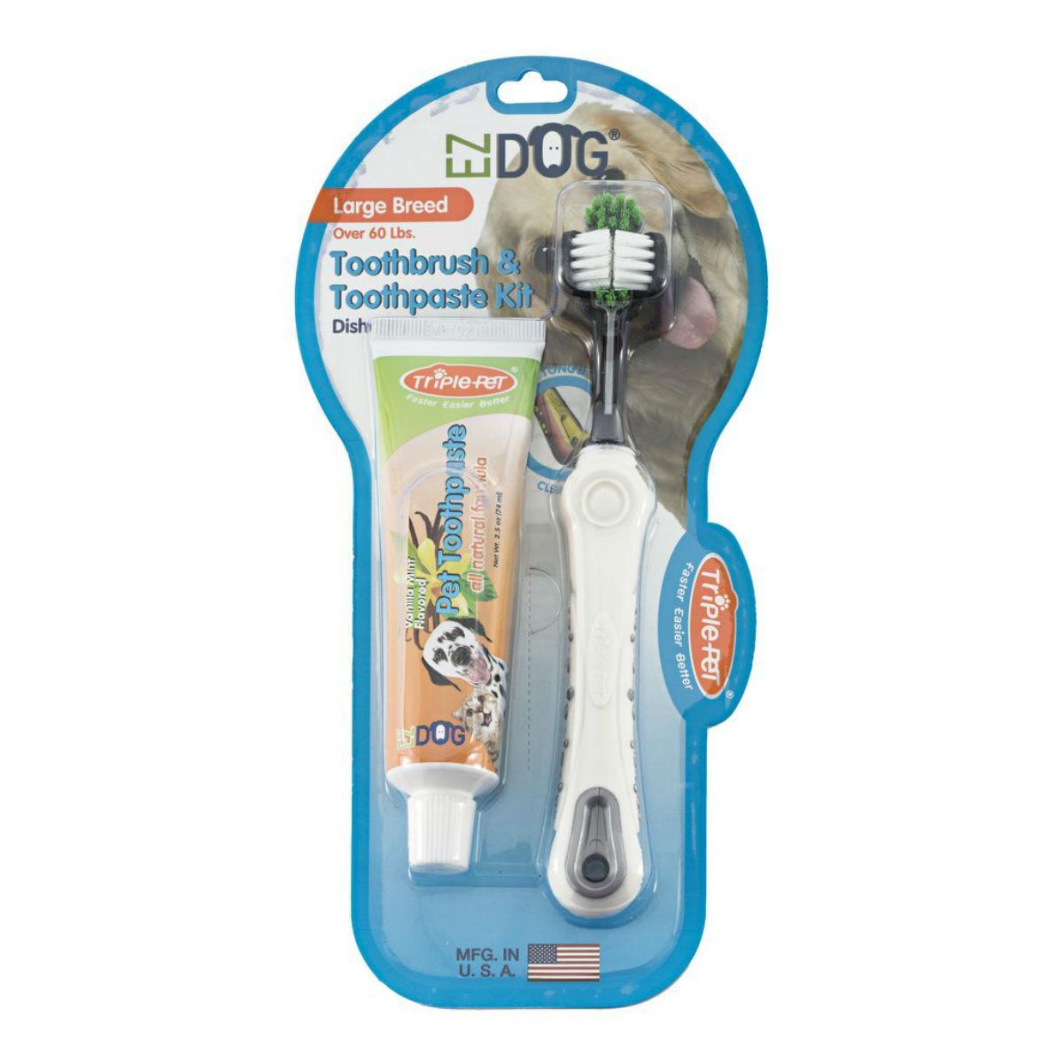 EZ Dog 3-Sided Toothbrush & Natural Toothpaste Kit for Large Dog Breeds - Vanilla Flavor