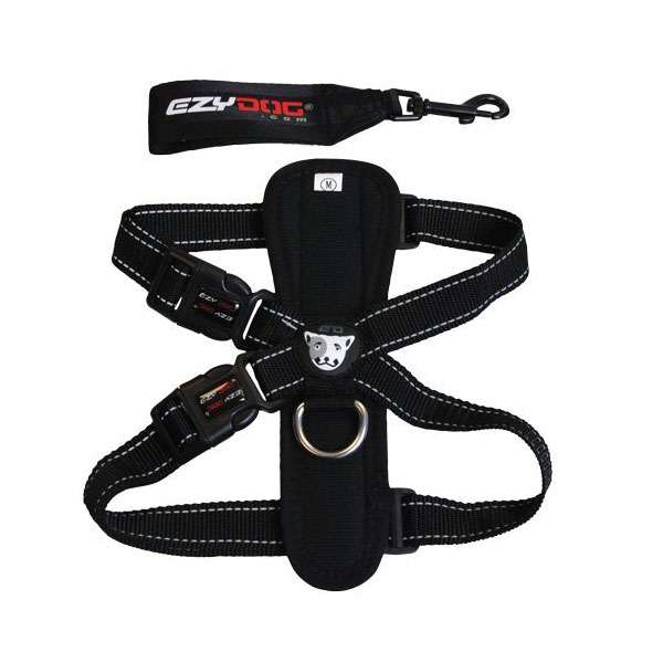 EzyDog Chest Plate Dog Harness - Black