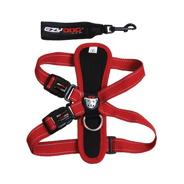 EzyDog Chest Plate Dog Harness - Red | BaxterBoo