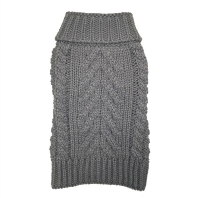 fabdog® Chunky Turtleneck Dog Sweater - Heather Grey