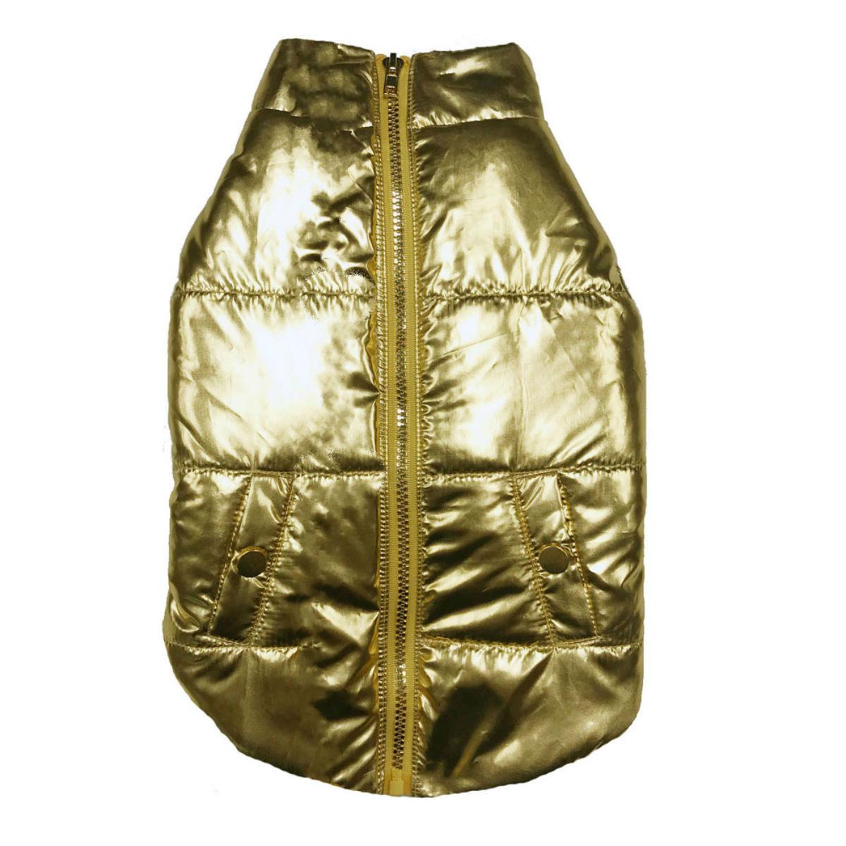 fabdog® Metallic Puffer Dog Coat - Gold