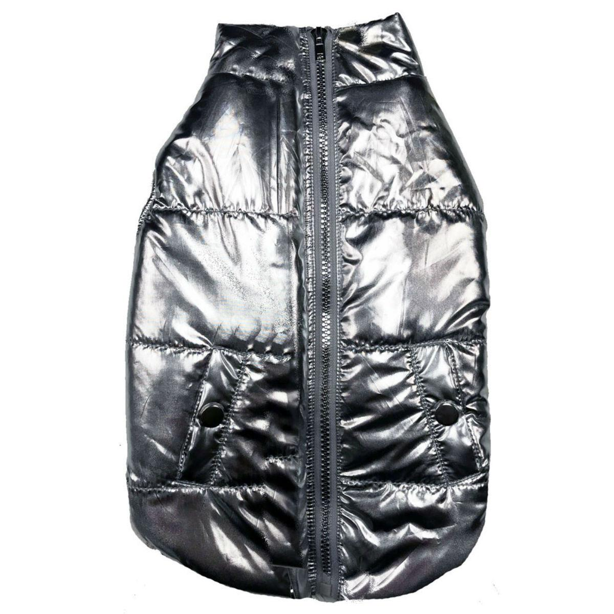 fabdog® Metallic Puffer Dog Coat - Silver