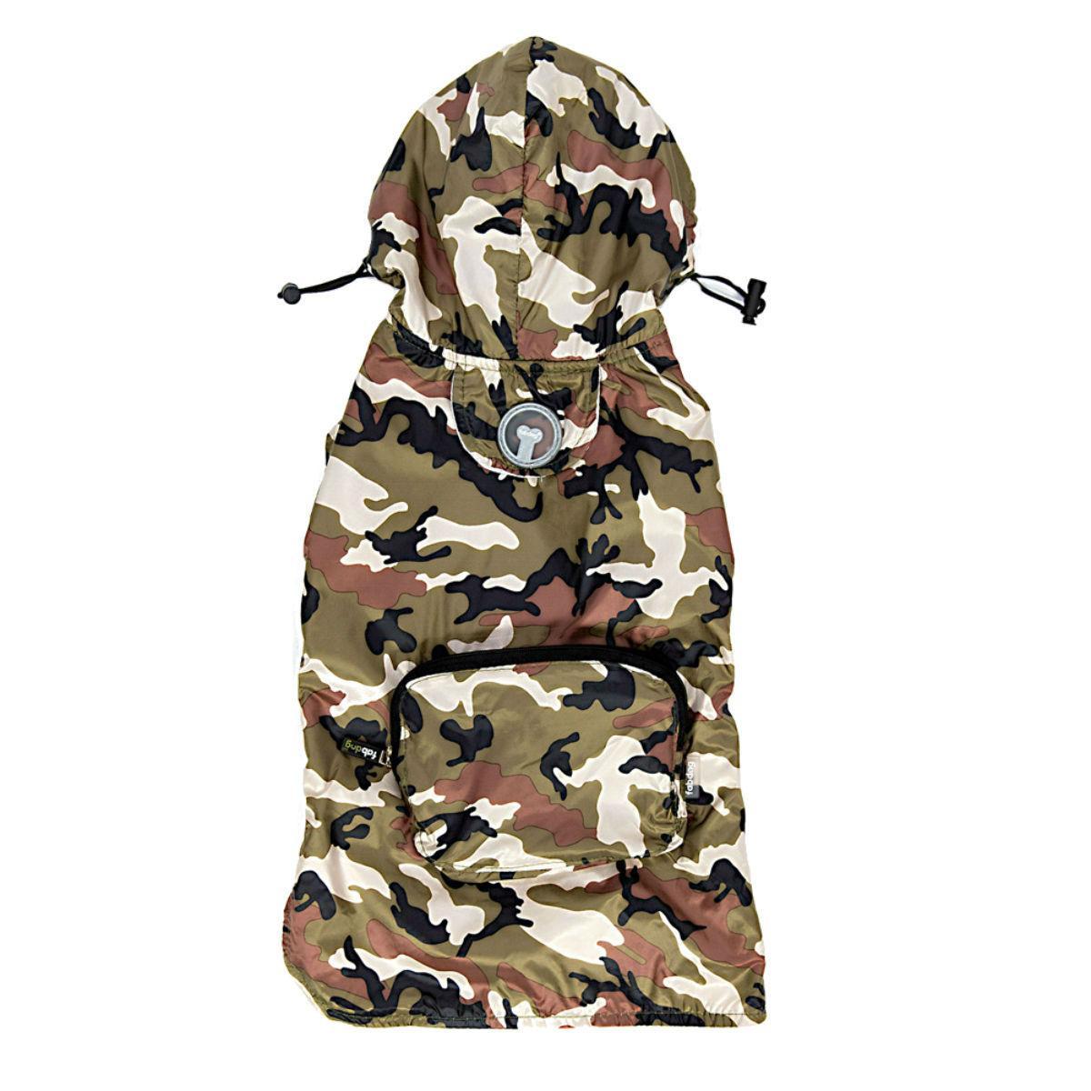 fabdog® Pocket Fold Up Dog Raincoat - Green Camouflage