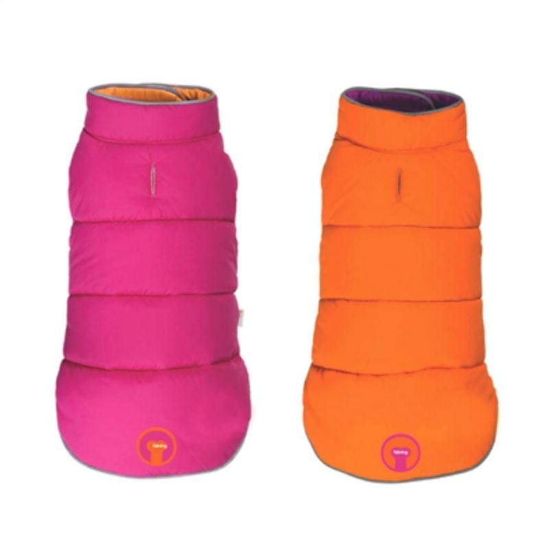 fabdog® Reversible Puffer Dog Coat - Pink/Orange