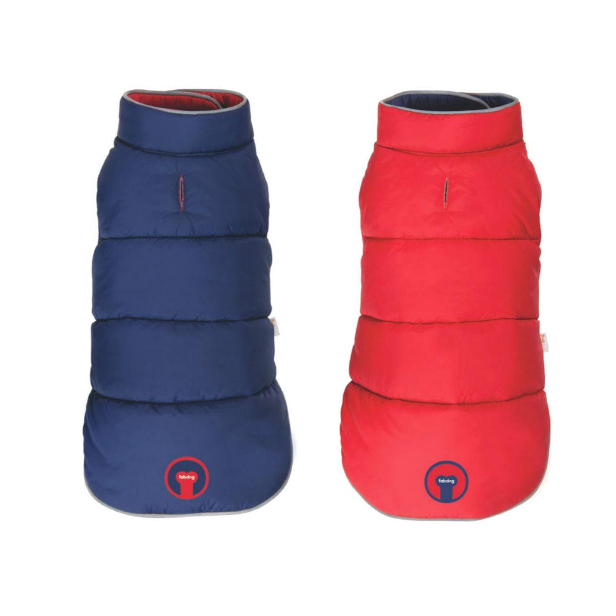 fabdog® Reversible Puffer Dog Coat - Red/Navy