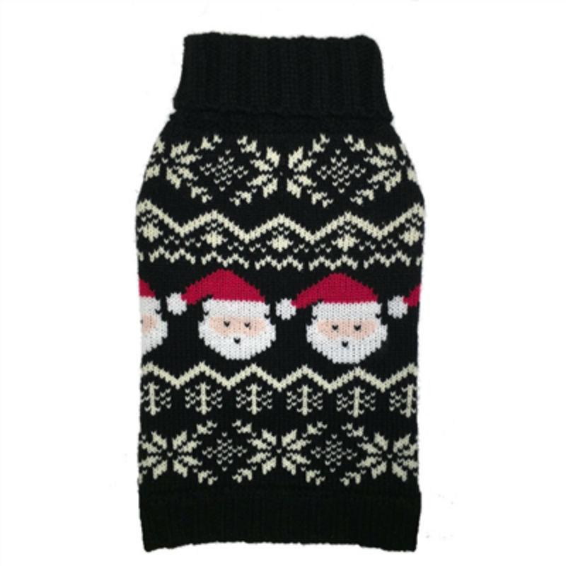 fabdog® Santa Fairisle Dog Sweater - Black