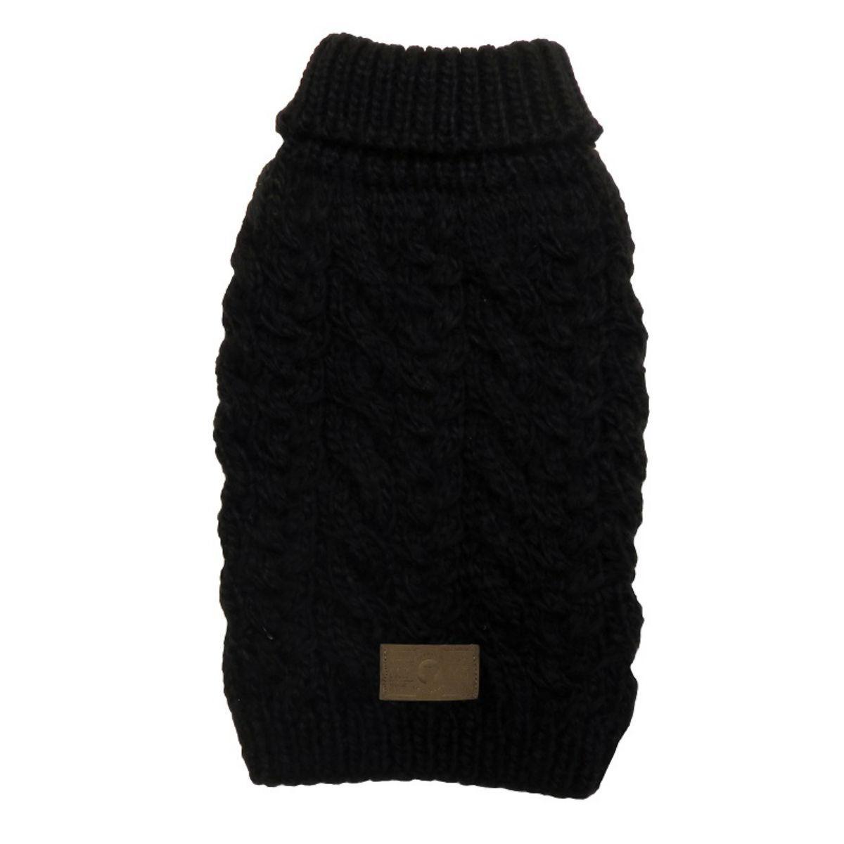 fabdog® Wool Turtleneck Dog Sweater - Black