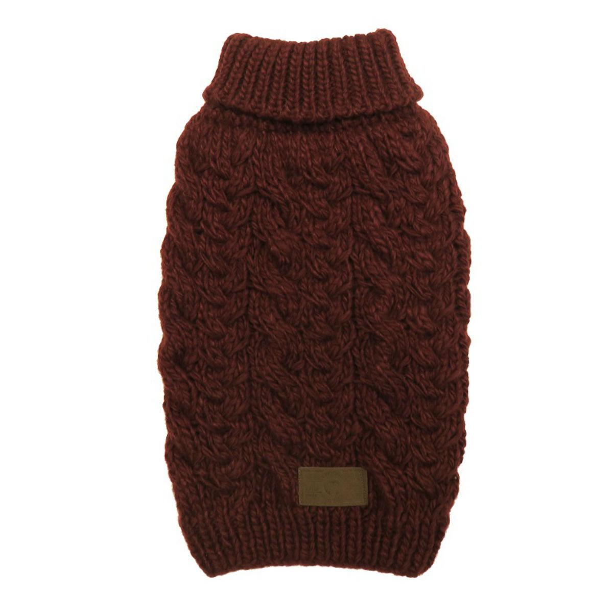 fabdog® Wool Turtleneck Dog Sweater - Burgundy