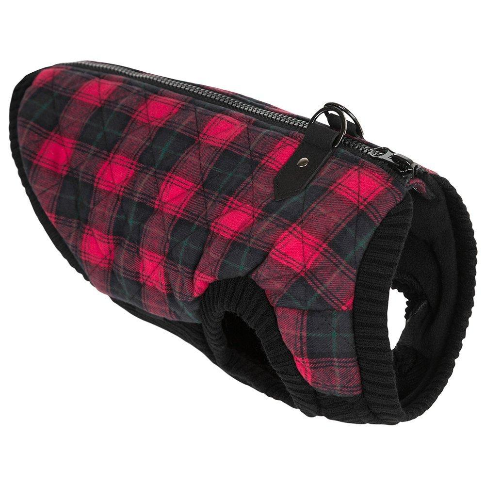 Fashion Bomber Check Dog Vest by Gooby - Red