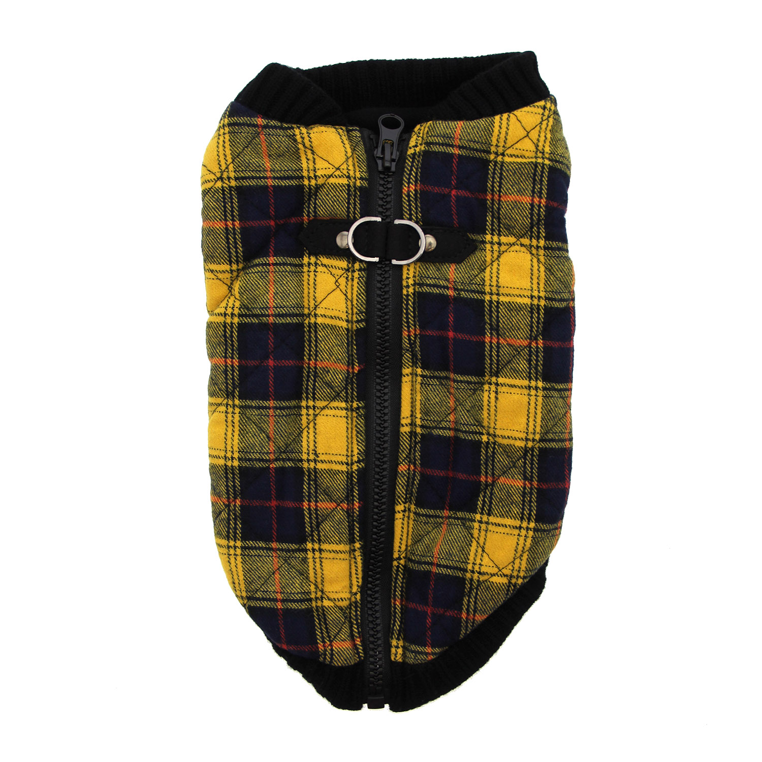 Fashion Bomber Check Dog Vest by Gooby - Yellow