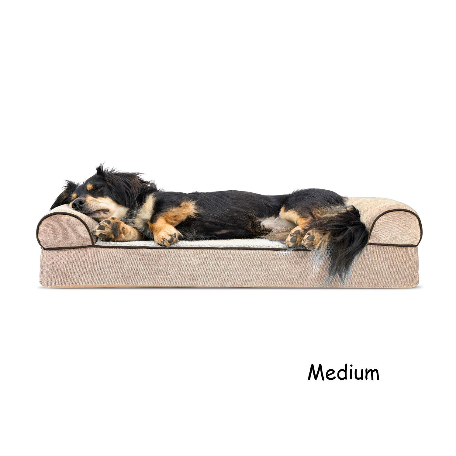 FurHaven Faux Fleece & Chenille Soft Woven Orthopedic Sofa Dog Bed - Cream