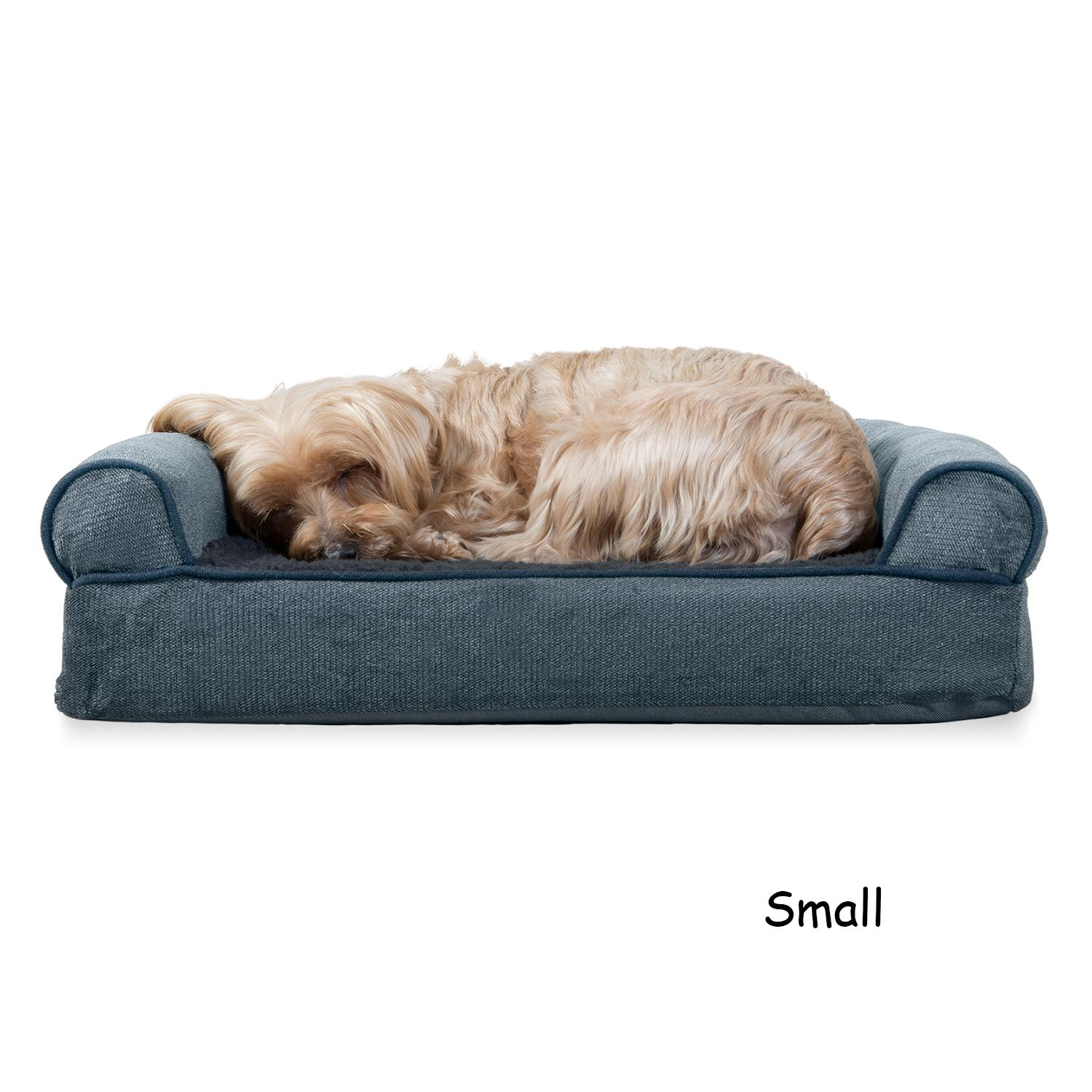 FurHaven Faux Fleece & Chenille Soft Woven Orthopedic Sofa Dog Bed - Orion Blue