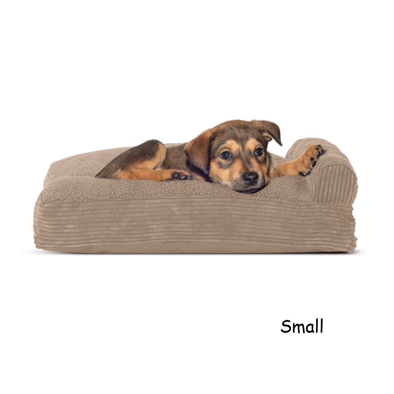 FurHaven Faux Fleece & Corduroy Chaise Lounge Pillow Sofa-Style Dog Bed - Sandstone